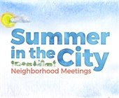 Summer in the City logo with a drawing of houses and a sun shining above